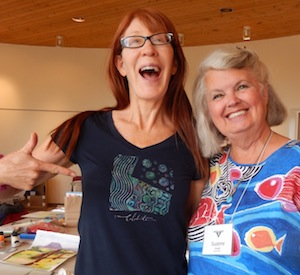 Teresa Shanahan and her fabulous gelli t-shirt